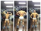 Frente e verso! Felipe Franco posa de short e exibe corpo musculoso