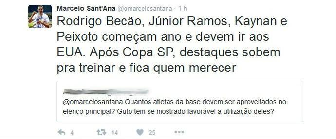 Sant'Ana fala de aproveitamento da base (Foto: Reprodução / Twitter)