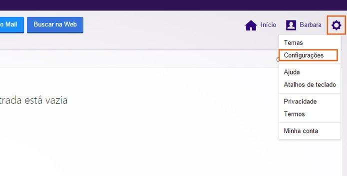 Acesse as configurações da conta do Yahoo Mail (Foto: Reprodução/Barbara Mannara)