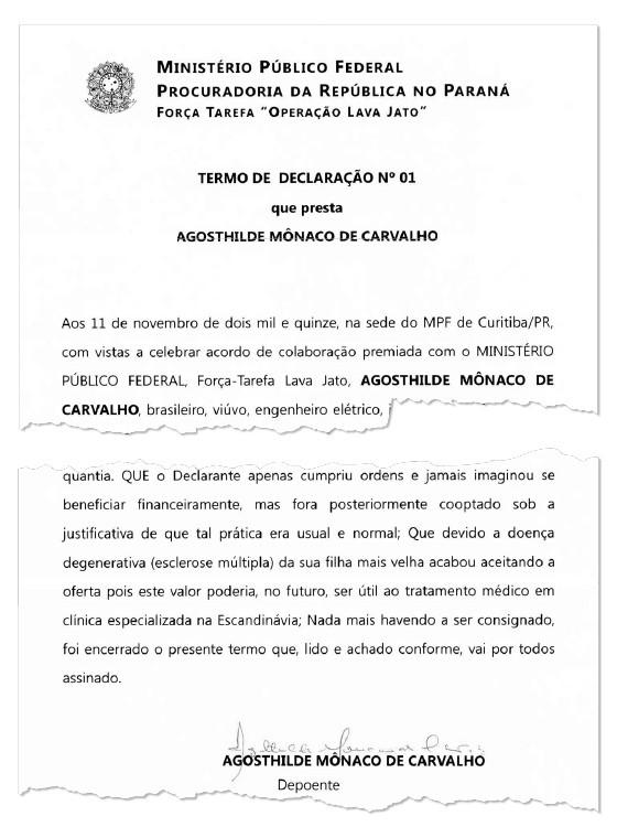 Depoimento de Agostidi Mônaco para o Ministério Público (Foto: Reprodução)