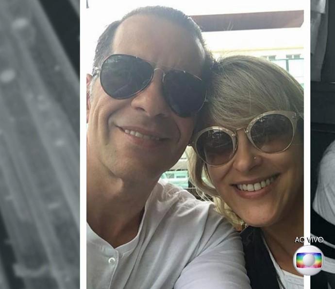 Leandro Hassum e a mulher Karina (Foto: TV Globo)