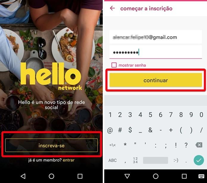 Começando a inscrição na rede social Hello (Foto: Felipe Alencar/TechTudo)