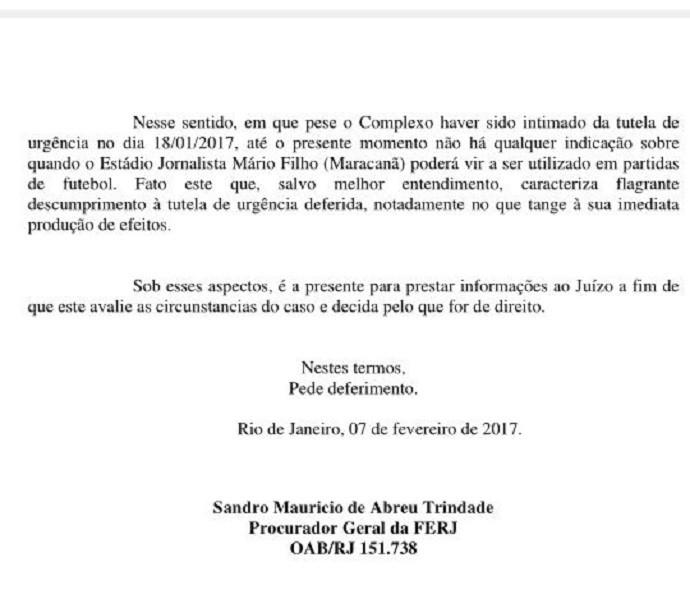 Documento Ferj Maracanã (Foto: Reprodução)