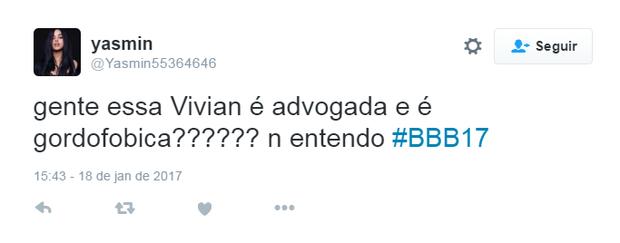 Comentários sobre Vivian do BBB 17 (Foto: Reprodução/Twitter)