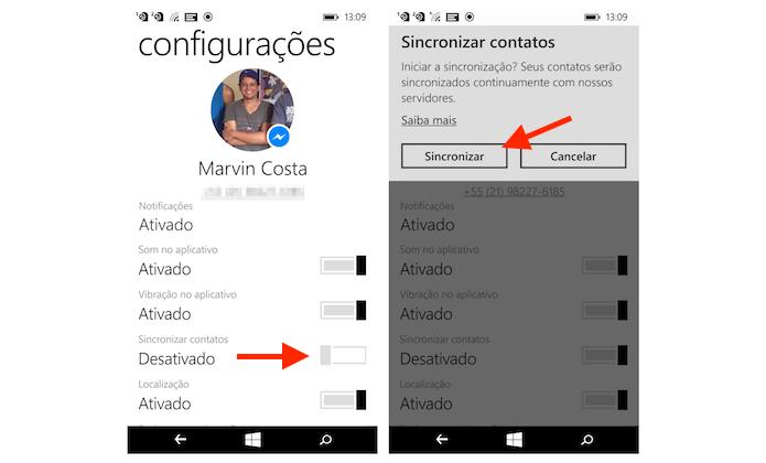 Sincronizando a agenda do Windows Phone com o Facebook Messenger (Foto: Reprodução/Marvin Costa)