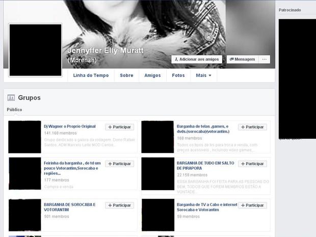 Suspeita estava inscrita em 16 grupos de venda e troca de produtos (Foto: Reprodução/ Facebook)
