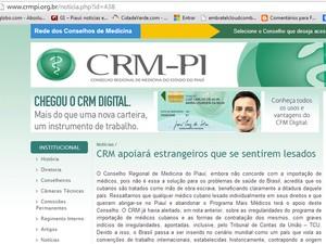 CRM-PI divulgou nota dando conta que dará apoio aos médicos cubanos que abandonarem o Programa Mais Médicos (Foto: Divulgação/CRM-PI)