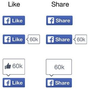 Novo design dos botões 'Curtir' retira o sinal de positivo, ícone do Facebook, e altera cor. (Foto: Divulgação/Facebook)
