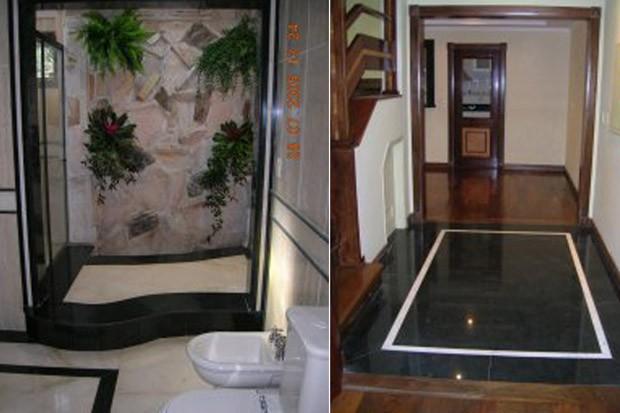 Banheiro e hall da casa de Roger Abdelmassih em Assunção, no Paraguai (Foto: Divulgação)
