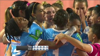 Melhores momentos de Minas 3 x 2 Bauru pelas quartas da Superliga feminina de vôlei