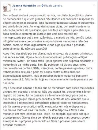 Joanna Maranhão pede desculpas após tuítes polêmicos (Foto: Reprodução/Facebook)