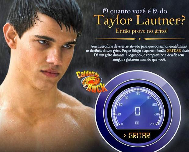 Aplicativo permite medir a potÊncia do seu grito para o galã (Foto: Caldeirão do Huck/TV Globo)