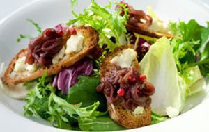Salada de folhas verdes com confit de cebola