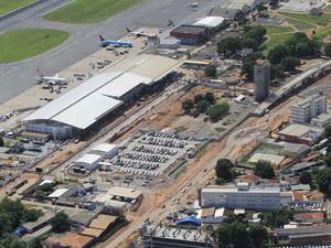 Obras de reforma e ampliação do Aeroporto Marechal Rondon, em Várzea Grande, cidade da região metropolitana de Cuiabá. (Foto: Edson Rodrigues/Secopa)