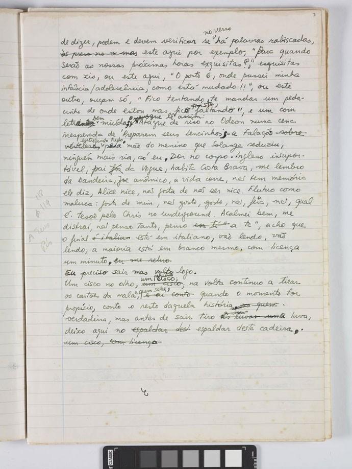 Manuscrito de Ana Cristina Cesar