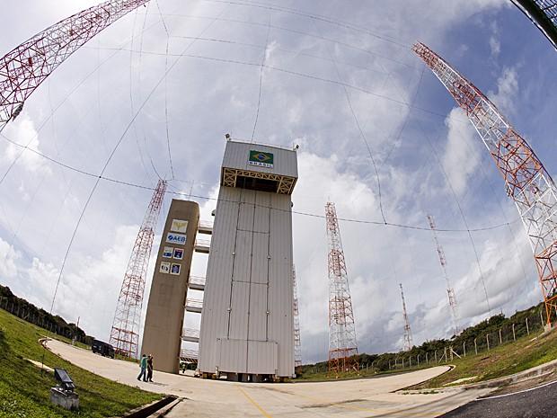 Imagem em grande angular da nova plataforma do VLS no Centro de Lançamento de Alcântara (Foto: Agência Força Aérea)