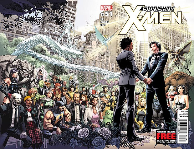 Capa da edição 51 do gibi Anastonishing X-Men #51, que circula em 21 de junho, e mostra o casamento do herói Northstar (Foto: AP)