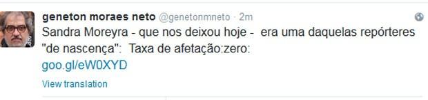 O jornalista Geneton Moraes Neto compartilhou uma mensagem (Foto: Reprodução)