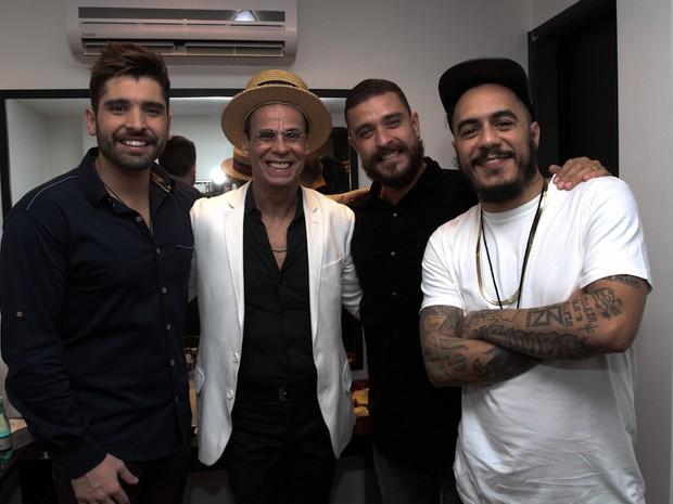 João Gabriel, Carlinhos de Jesus, Diogo Nogueira e Marcelo D2 em evento em São Paulo (Foto: Cláudio Augusto/ Foto Rio News)
