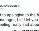 Após falhas, Gomes pede desculpas a torcedores e companheiros no Twitter
