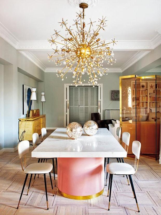 Décor do dia: Sala de jantar com toque de rosa e estilo eclético (Foto: Reprodução)