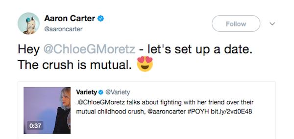 O outro convite feito pelo cantor Aaron Carter pedindo um encontro com a atriz Chloe Grace Moretz (Foto: Twitter)