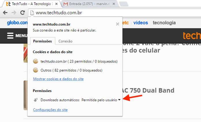 Acessando as opções para permissões para um site no Google Chrome (Foto: Reprodução/Marvin Costa)