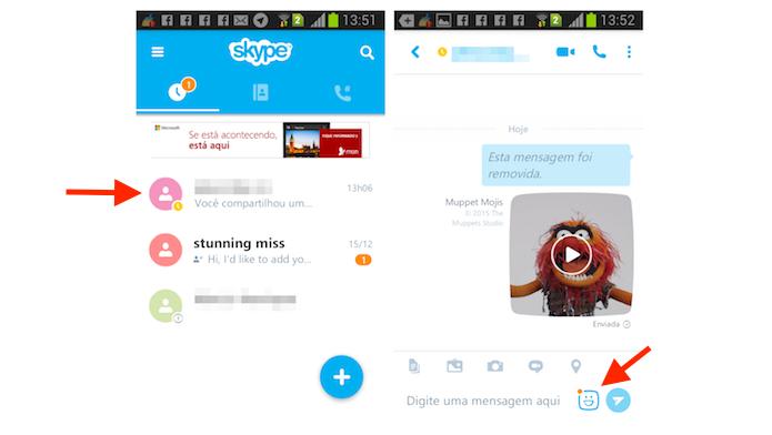 Acessando a tela de mojis do Skype para Android (Foto: Reprodução/Marvin Costa)