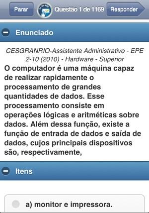 Tela do Tá Na Mão exibe enunciado e respostas possíveis (Foto: Reprodução)