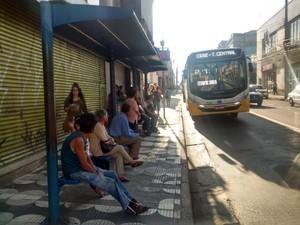 Corredor de ônibus da avenida Voluntário Fernando Pinheiro Franco, no centro de Mogi (Foto: Maiara Barbosa/ G1)