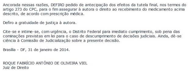 Trecho da decisão do Tribunal de Justiça do DF que assegura medicamento a paciente com câncer (Foto: Reprodução)