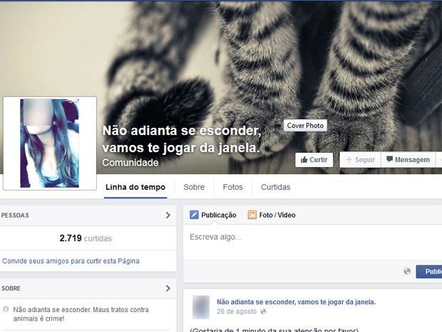 Página no Facebook com ameaças à adolescente foi criada depois de o vídeo começar a circular pela internet (Foto: Reprodução/Facebook)