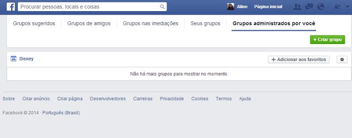 Administração de múltiplos grupos foi lançada pelo Facebook (Foto: Reprodução/Aline Jesus) (Foto: Administração de múltiplos grupos foi lançada pelo Facebook (Foto: Reprodução/Aline Jesus))
