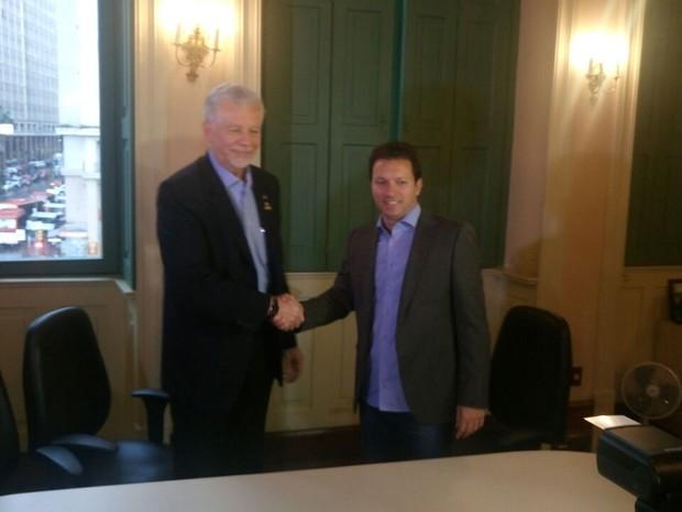 Fortunati e Marchezan fizeram reunião de transição nesta terça-feira (1) (Foto: Jonas Campos/RBS TV)