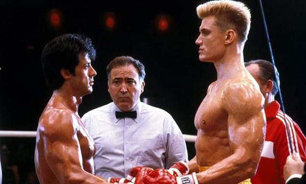Dolph Lundgren e Sylvester Stallone – Rocky IV (1985) (Foto: Divulgação)