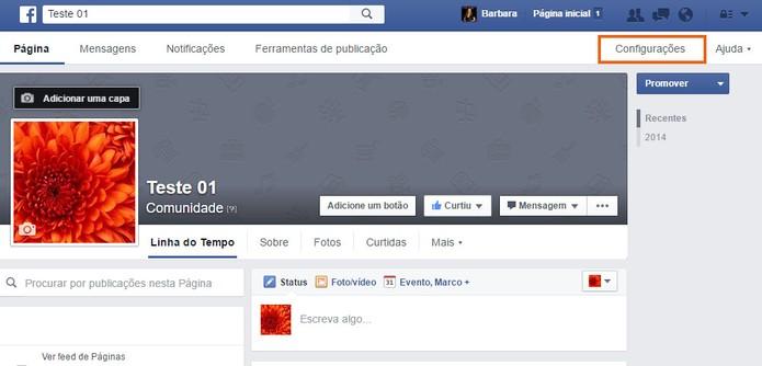 Acesse as configurações da sua Página do Facebook (Foto: Reprodução/Barbara Mannara)