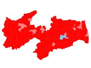 Mapa de votação mostra desempenho dos presidenciáveis nos municípios da Paraíba; nas cidades em vemelho claro, Dilma teve menos de 51% dos votos válidos (Foto: Arte/G1)