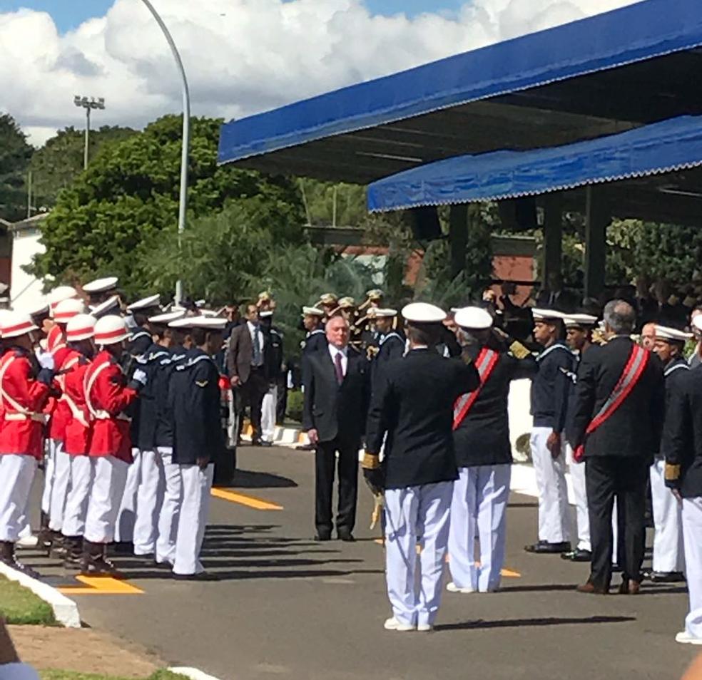 Presidente Michel Temer durante evento da Marinha, comemorativo dos 152 anos da Batalha de Riachuelo (Foto: Roniara Castilhos/TV Globo)
