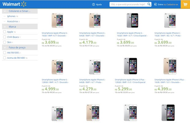 Walmart inicia venda ilegal do iPhone 6 e iPhone 6 Plus no Brasil