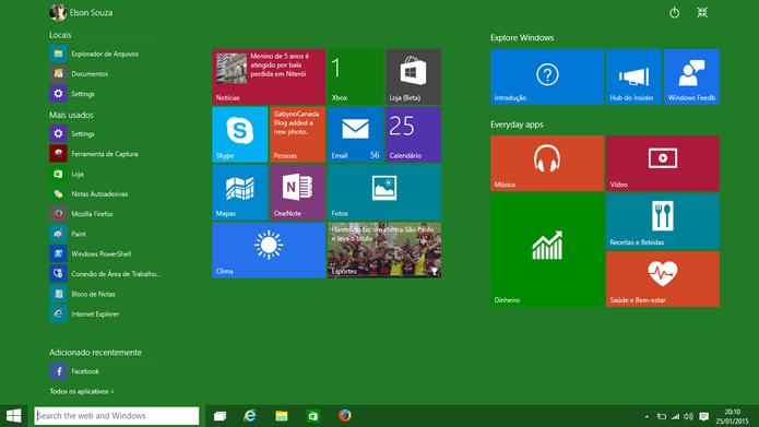 Windows 10 manterá atual tela iniciar para usuários que prefiram a interface (Foto: Reprodução/Elson de Souza)