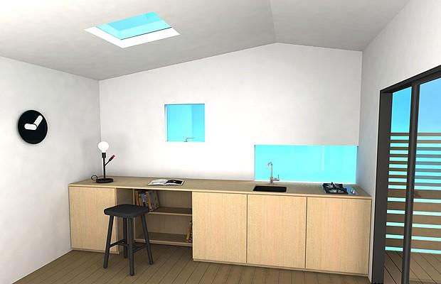 Outra opção de interior, com cozinha e home office (Foto: Divulgação)