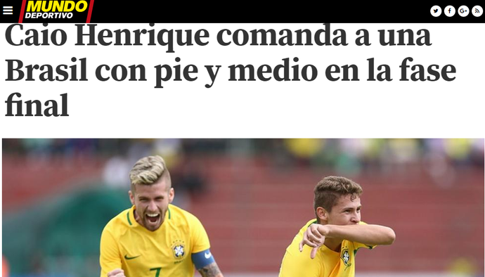 Caio Henrique no jornal Mundo Deportivo (Foto: Reprodução / Mundo Deportivo)