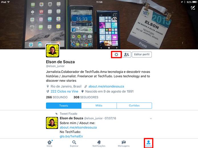 Clique no ícone de engrenagem no perfil do usuário do Twitter para iOS (Foto: Reprodução/Elson de Souza)