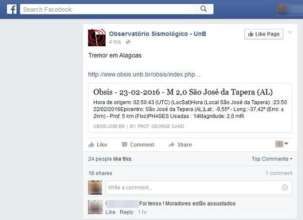 Observatório da Universidade de Brasília publicou nas redes sociais o registro do tremor no interior de AL (Foto: Reprodução/ Facebook)