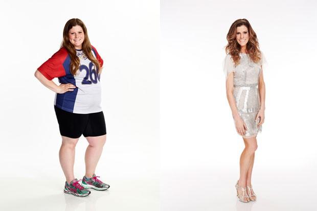Imagens liberadas pela NBC mostram a transformação sofrida pela americana Rachel Frederickson, que perdeu 70 kg durante reality show (Foto: Paul Drinkwater/NBC/AP)