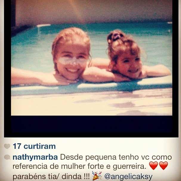 A sobrinha e afilhada Nathalia, ao lado da apresentadora em uma foto antiga (Foto: Reprodução/Instagram)