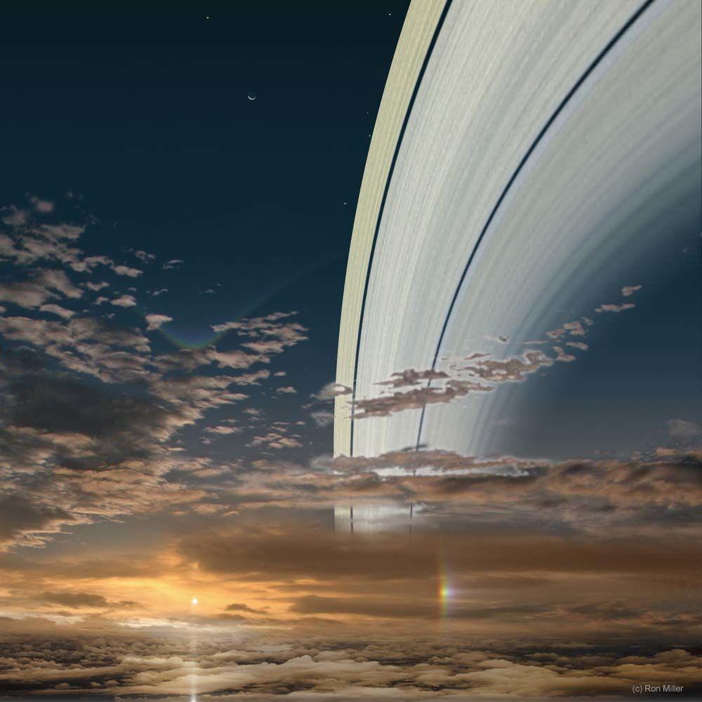 Saturno, a 1,43 bilhão de quilômetros do Sol (Foto: Ron Miller | Divulgação)