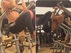 Karina Bacchi capricha na abdominal para manter tanquinho