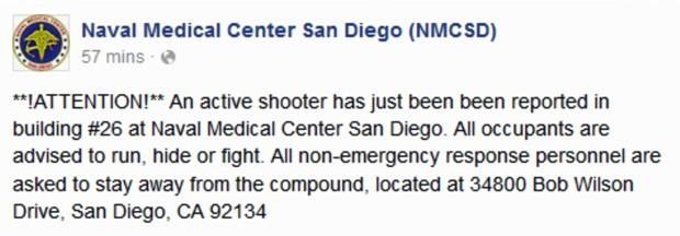 """Comunicado do hospital da marinha de San Diego em sua página no Facebook informa que um atirador está em ação em um dos prédios e orienta que as pessoas que estão no local """"fujam, se escondam ou lutem"""" (Foto: CNN)"""