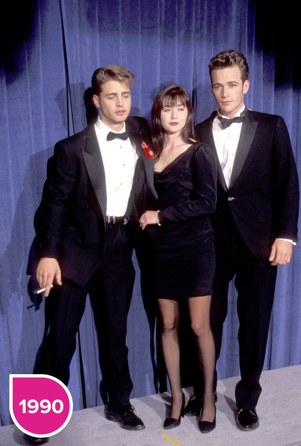 Jason Priestley, Shannen Doherty e Luke Perry 1990 (Foto: Getty Images)